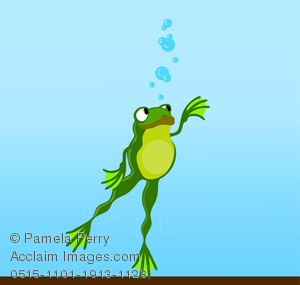 Frog Swimming Under Water