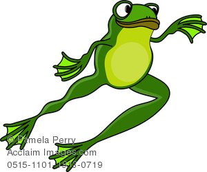 Cartoon Frog Leaping Through the Air