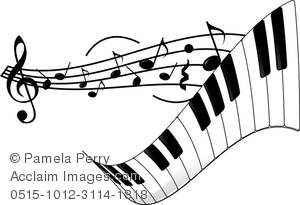 flowing musical staff with musical notes and a piano keyboard