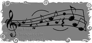 A musical staff with treble clef, assorted musical notes and markings with a black on gray theme