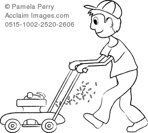 Coloring page of a boy mowing the lawn with a gas powered lawnmower