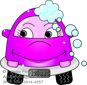 Cute Little Cartoon Car With Bubbles and a Smile As It Gets a Car ...