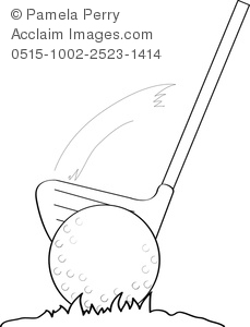 Coloring page of a golf club and golf ball