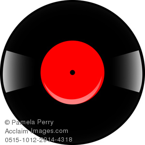 royalty free clip art image black vinyl record with a red label music