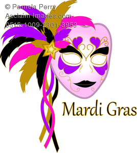 Carnival Mardi Gras mask with feathers and bright colors