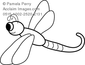 Cartoon Dragonfly Coloring Page Royalty Free Clip Art Image