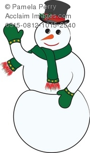 a snowman wearing a green and red scarf, green gloves, a tophat, and a carrot nose
