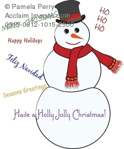 a snowman wearing a red scarf, a tophat, and carrot nose with seasonal phrases all around him