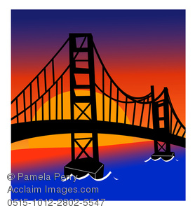 Cartoon Clip Art of the golden gate bridge at sunset with dark blue water below