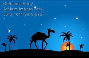 Clip Art Image of a Camel walking through the desert at sunset