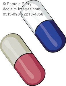 cartoon clip art of a pink and a blue pill capsule