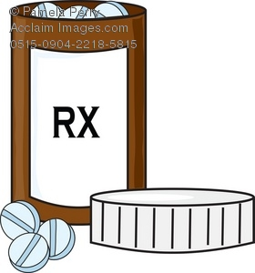A prescription bottle of pills with the RX label on it. There are 3 pills and lid of the bottle laying next to the bottle