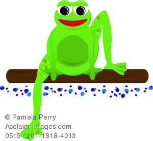 a clip art illustration of a frog sitting on a log