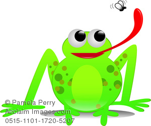 a clip art illustration of a frog with his long red tongue out catching a fly
