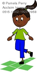 a clip art cartoon of an African American girl playing hopscotch on the playground