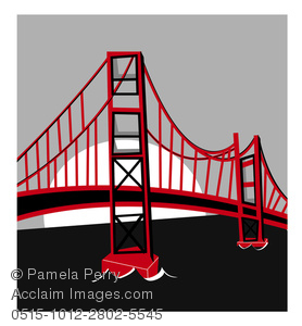 Clip Art Illustratin Of the Golden Gate Bridge