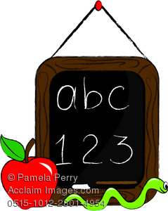 a clipart of a chalkboard with abc 123 written in chalk. There is an apple and a worm next to the chalkboard