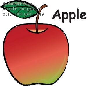 Clip Art Of A Red And Green Apple With a Leaf On The Stem. The Word Apple Is On The White Background