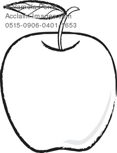 a black and white clip art illustration of an apple with a leaf on