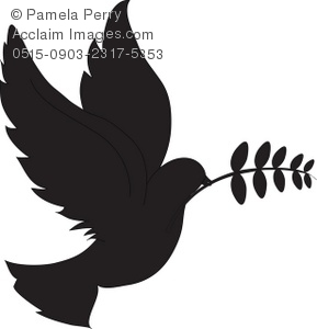Silhouette of a dove of peace with an olive branch in its beak