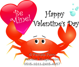 A Clip Art Illustration Of A Crab Holding A Be Mine Valentine Card