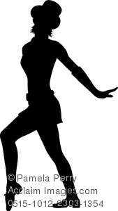 Clip Art Silhouette Of A Dancer Standing In A Dance Pose