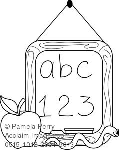 Clip Art Illustration Of A Chalkboard, Apple, And worm. The Chalkboard Has ABC 123 Written On It