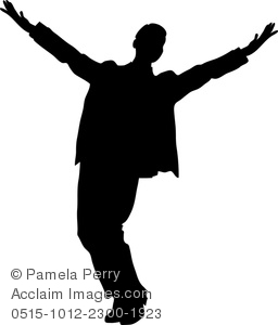 Silhouette of a performer, actor or dancer acknowledging applause from an audience