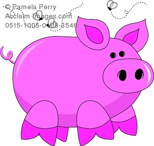 Clip Art Of a Pink Pig With Flies Buzzing Around