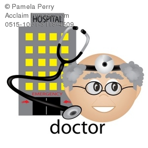 Clip Art Illustration Of A Doctor With A Stethescope. A Hospital Is In The Background