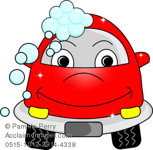 clip art cartoon of a red car with a cute face going through a car wash