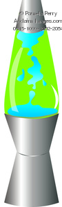 clip art illustration of a lava lamp with green and blue colors