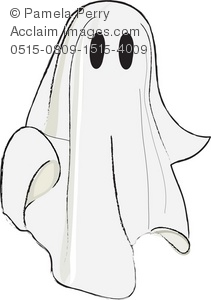 clip art illustration of a cute little ghost made with a sheet