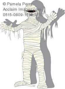 Clip Art Illustration Of A Mummy. His Shadow Is On The Wall Behind Him