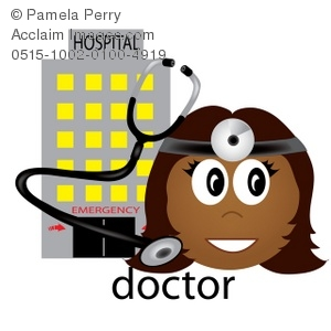 clip art of a female doctor wearing a headlamp with a stethescope and a hospital
