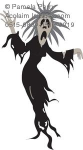 clip art silhouette of a scary halloween costume