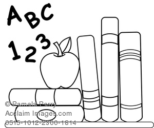 clip art illustration of school books, abc, 123, and an apple