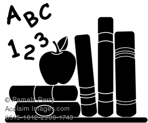 clip art silhouette of abc,123, educational books, and an apple