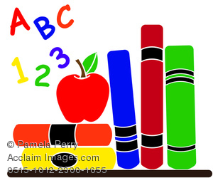 Clip Art Illustration Of School Supplies In A Classroom