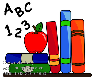 Clip Art Illustration Of School Books, Alphabet, And An Apple