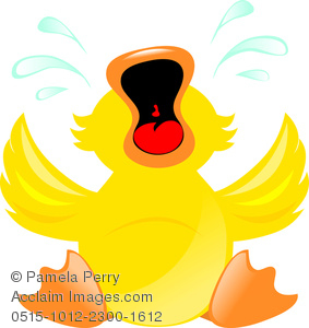 Clip Art Illustration Of A Duck Crying. His Tears Are Squirting Out Of His Eyes