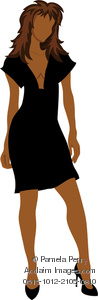 Clip Art Illustration Of A Woman Wearing A Sexy Low Cut Black Dress And Black High Heels