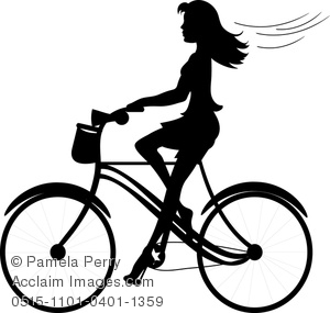 clip Art Illustration Of A lady Wearing A Skirt Riding A Bicycle With Her Hair flying