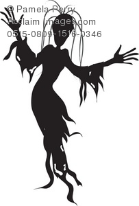 Clip Art Silhouette Of A Woman Wearing A Ghostly Halloween Costume