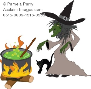 Clip Art Illustration Of A Wicked Witch And Her Black Cat With A Cauldron Of Witches Brew Brewing