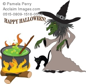 Clip Art Illustration Of A Wicked Witch And A Black Cat Preparing A Witches Brew In A Cauldron