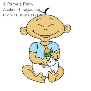 Clip Art Illustration Of A Happy Baby Sitting Down In Her Diaper Holding A Bottle