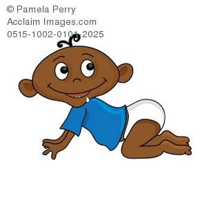 Clip Art Illustration Of An African American Baby Crawling On The Floor And Drooling