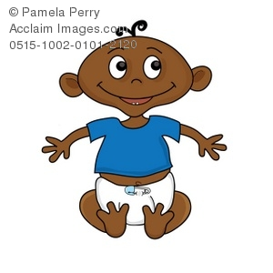 Clip Art Illustration Of An African American Baby Sitting Up Proudly