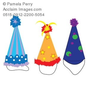 Clip Art Illustration Of A Variety Of Party Hats